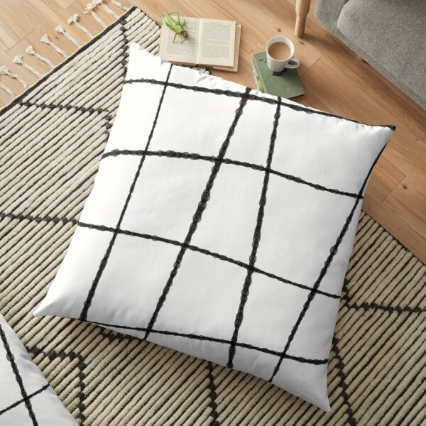 Black and White Ink Lines  Floor Pillow