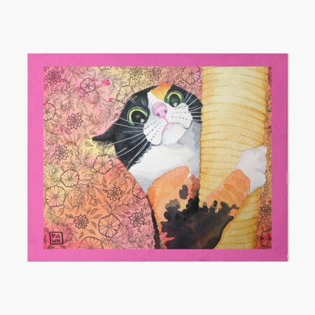 Colorful calico cat painting in an energetic pop art style with floral background Art Board Print