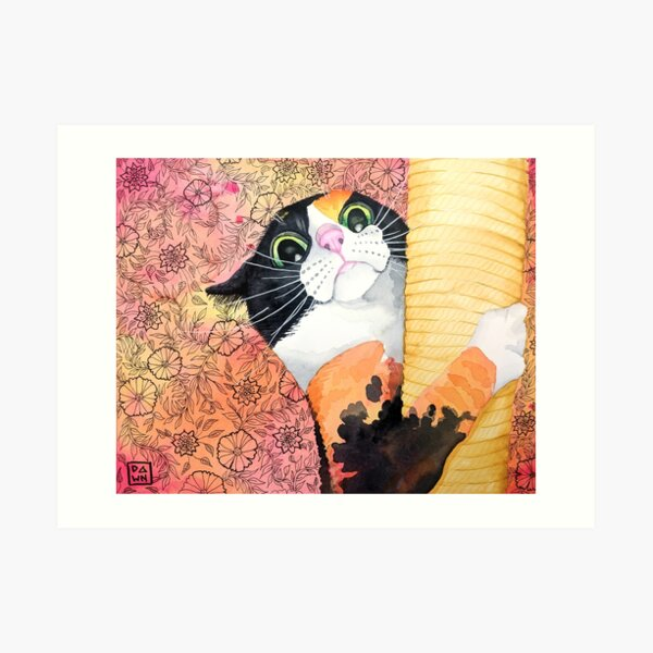Colorful calico cat painting in an energetic pop art style with floral background Art Print