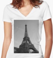Eiffel Tower Black & White (Paris) Women's Fitted V-Neck T-Shirt