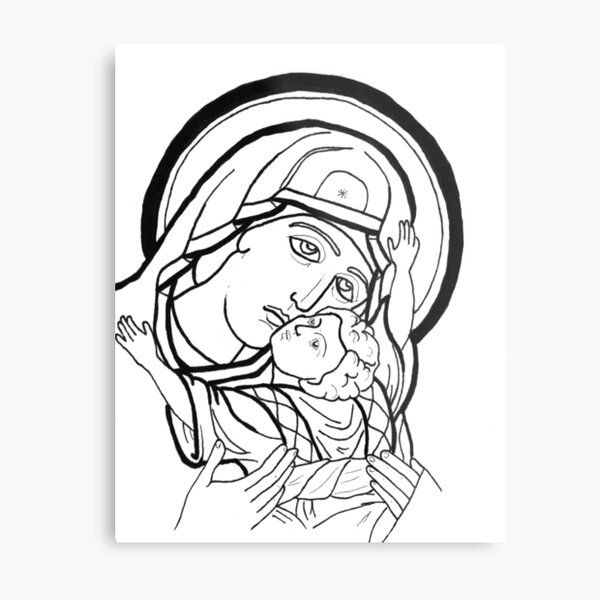 Theotokos snuggles Metal Print