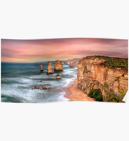 Golden Limestone Cliffs Poster