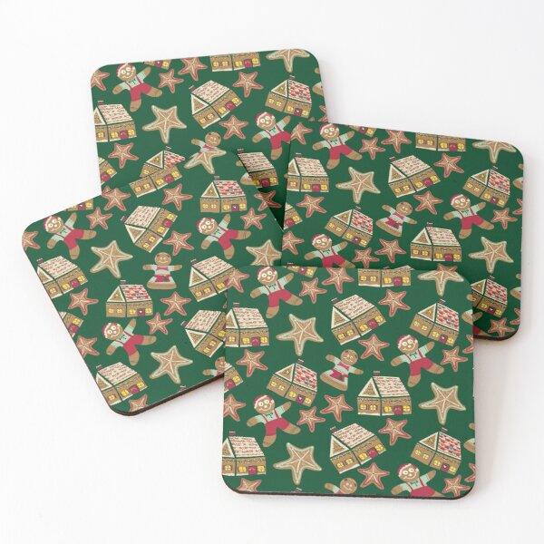 Holiday Delights Gingerbread Cookies Houses Star Brown, green, Teal, Red, Green Coasters (Set of 4)