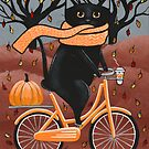 Black Cat Autumn Bicycle Ride by Ryan Conners