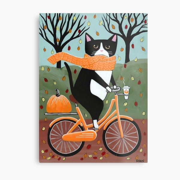 Autumn Bicycle Ride Tuxedo Cat Metal Print