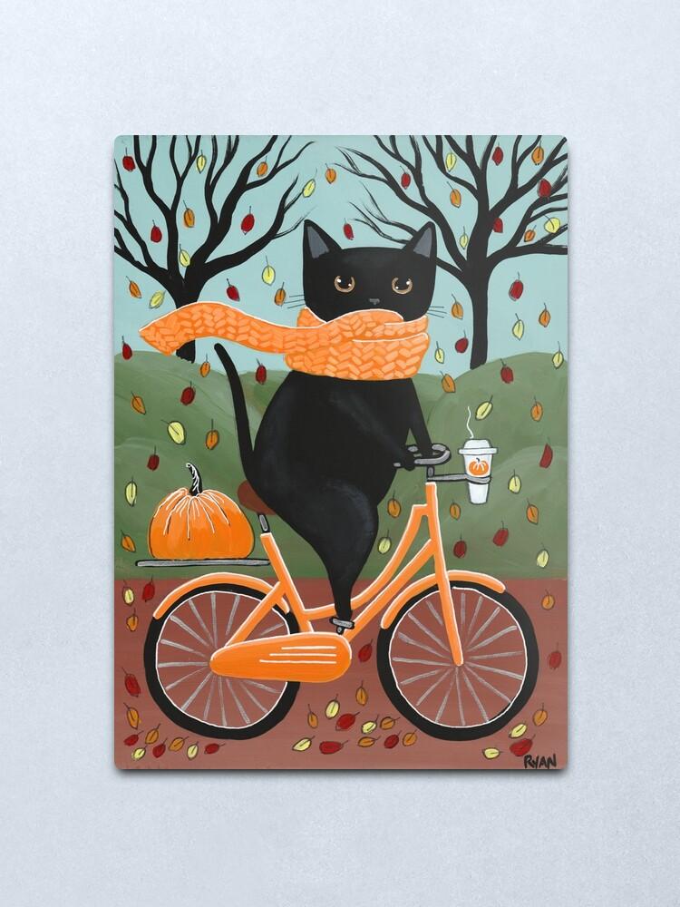 Alternate view of Black Cat Autumn Bicycle Ride Metal Print