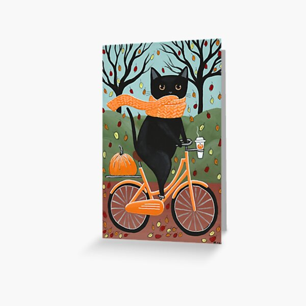Black Cat Autumn Bicycle Ride Greeting Card