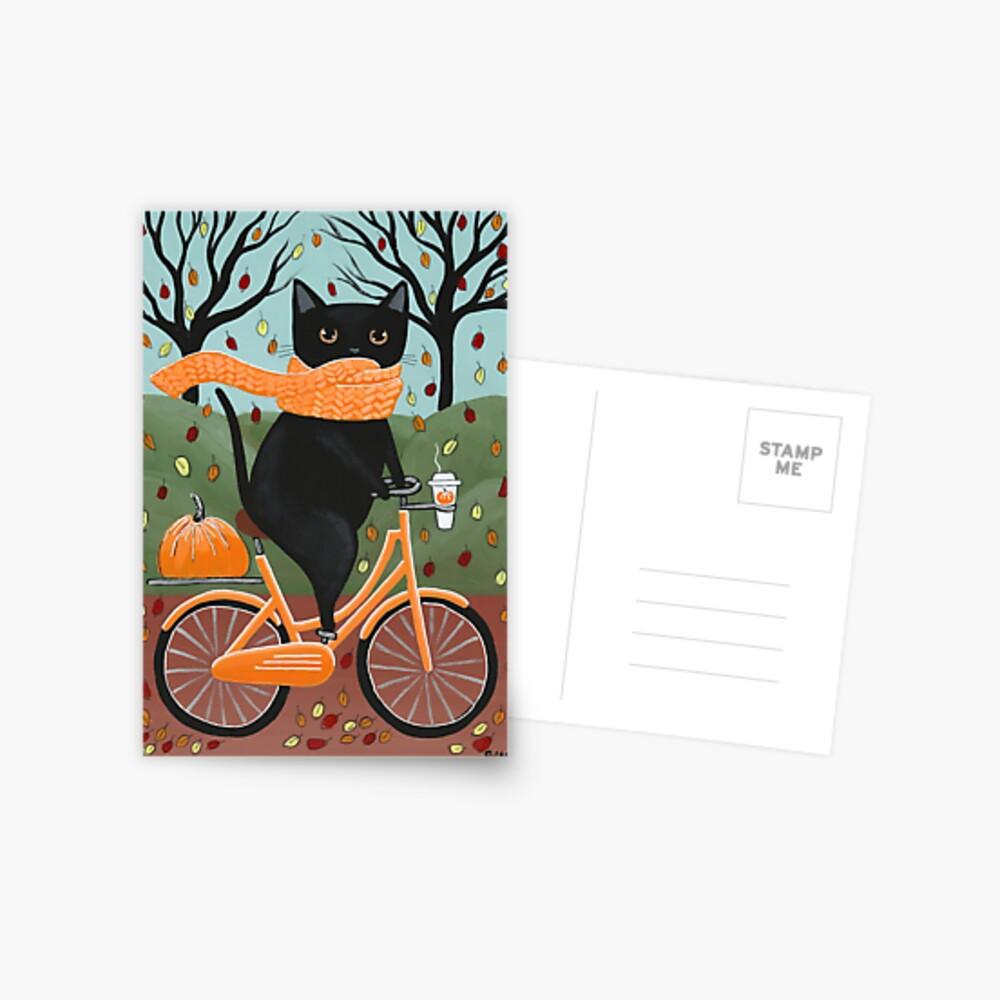 Black Cat Autumn Bicycle Ride Postcard