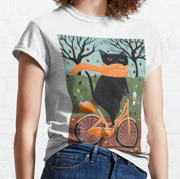 Black Cat Autumn Bicycle Ride Classic T-Shirt