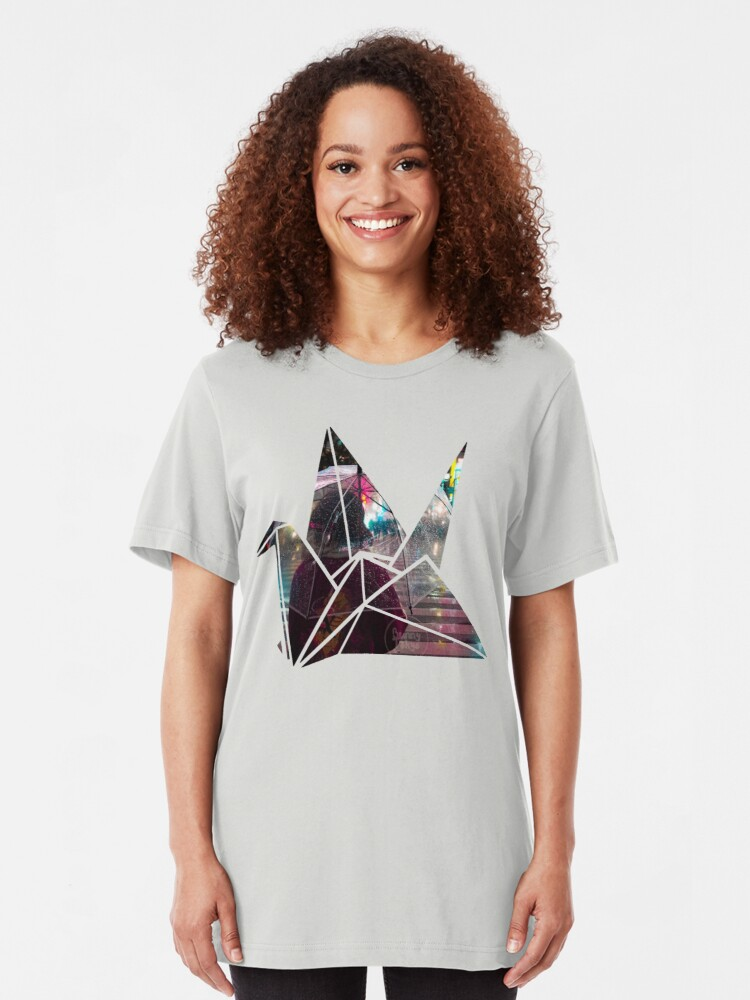 Alternate view of Shibuya Crossing in an Origami Crane Slim Fit T-Shirt
