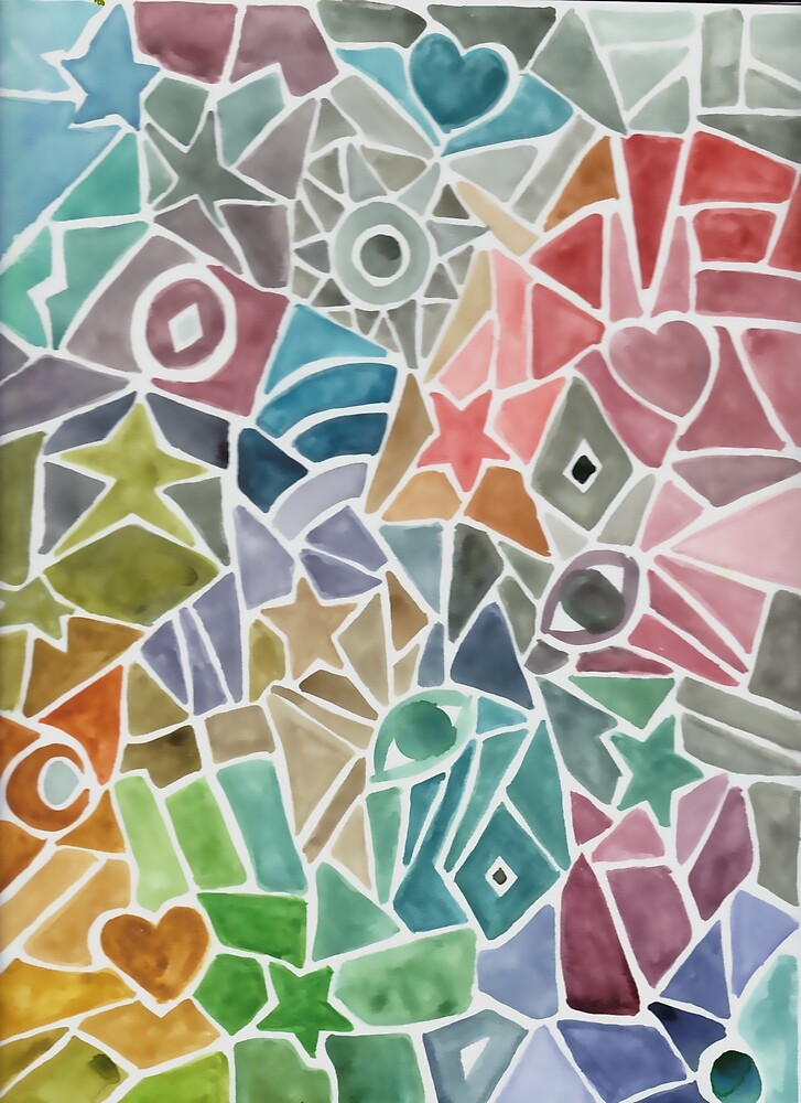 Rainbow Mosaic Watercolor by mintdawn