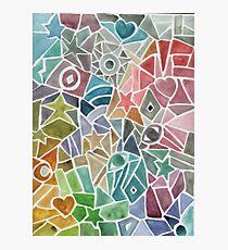 Rainbow Mosaic Watercolor Photographic Print