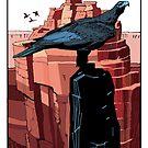 Eagle on rock pinnacle by David  Kennett