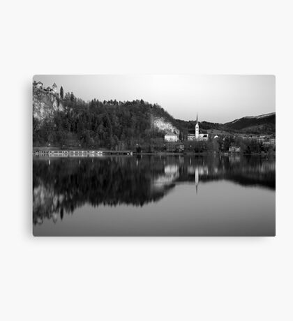 View across Lake Bled in Black and White, Slovenia Canvas Print
