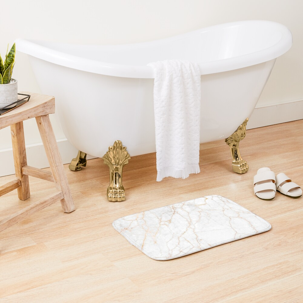 White Marble with Gold Glitter Veins Bath Mat