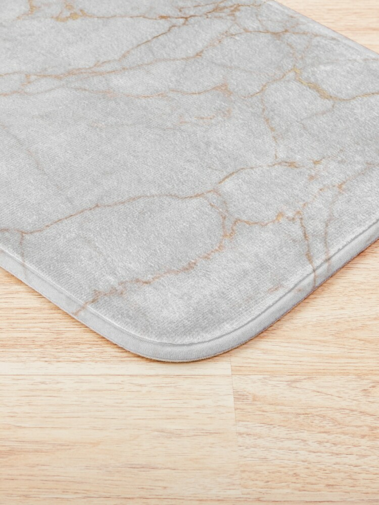 Alternate view of White Marble with Gold Glitter Veins Bath Mat