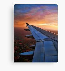 CAPTURED FROM INSIDE AIRPLANE WINDOW VIEW-WING OF AN AIRPLANE-JOURNAL-BOOKS-PILLOWS-TOTE BAG-CARD-CELLPHONE COVERS-PICTURE Canvas Print