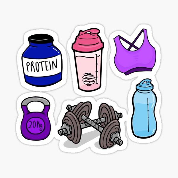 Gym Essentials Protein, Shaker, Bra, Kettlebell, Dumbbell, Water bottle Sticker