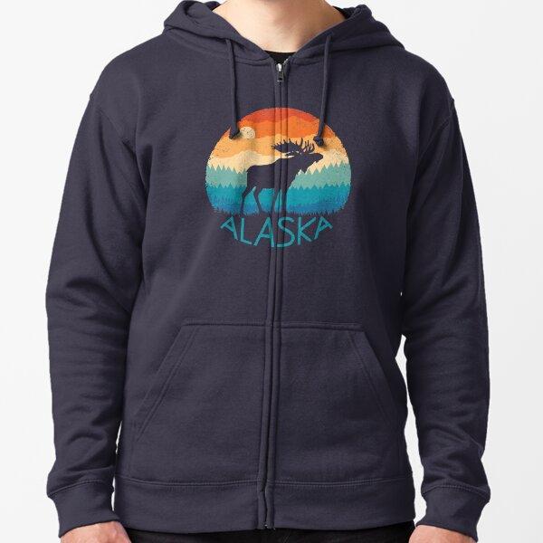 Alaska Retro Moose Zipped Hoodie