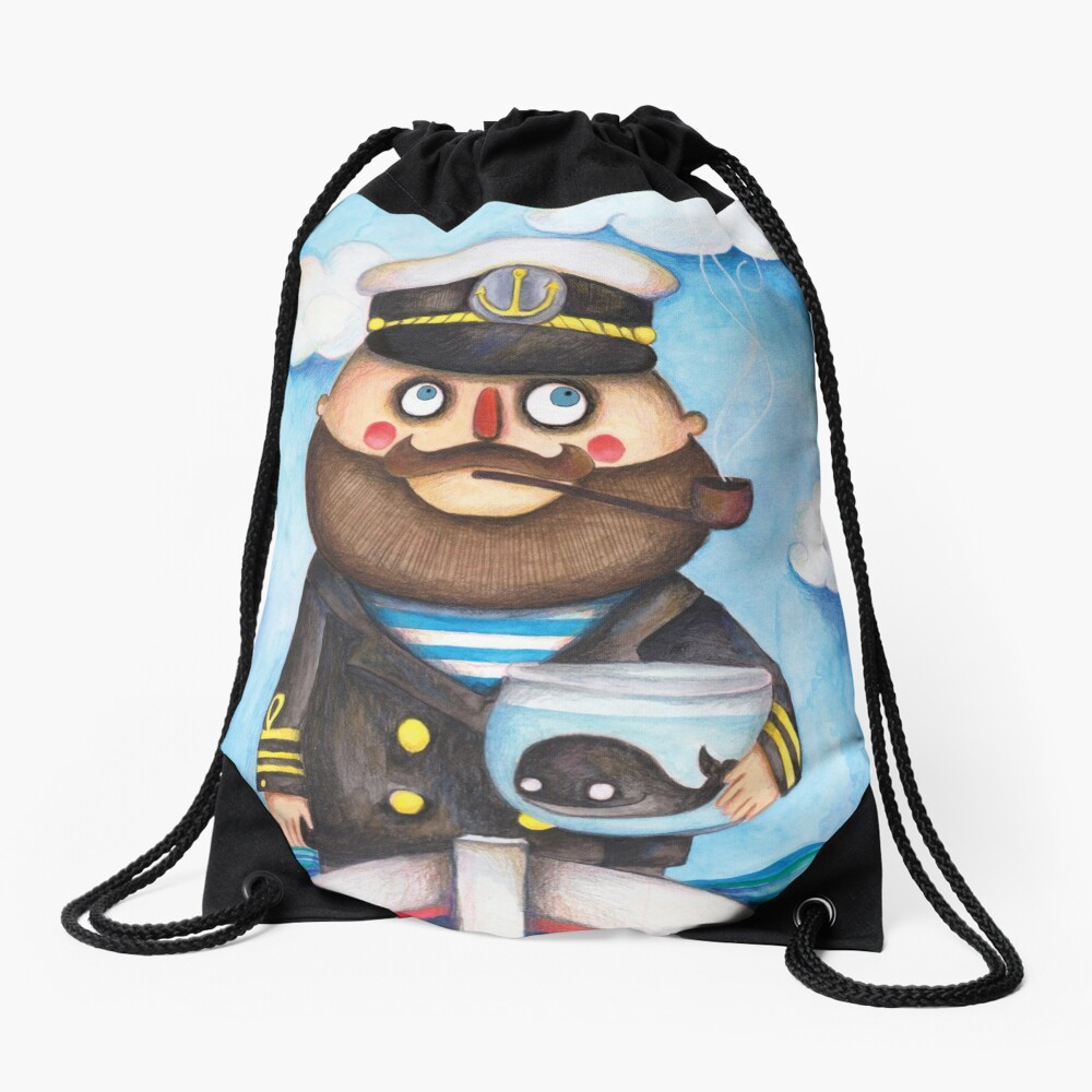 The captain and his whale Drawstring Bag