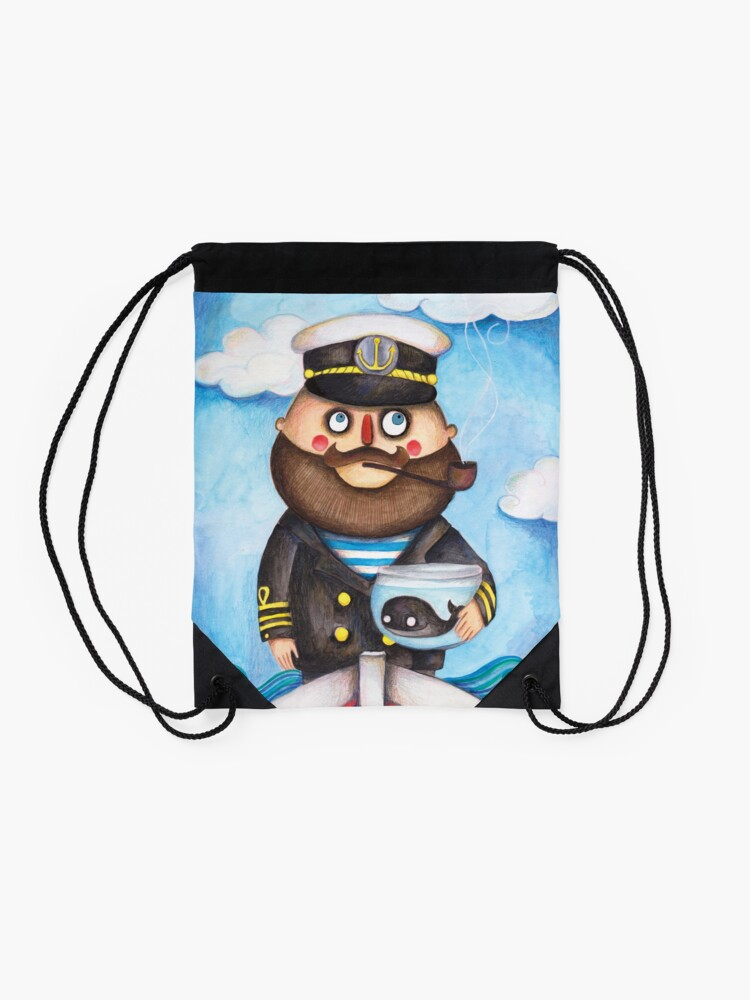 Alternate view of The captain and his whale Drawstring Bag