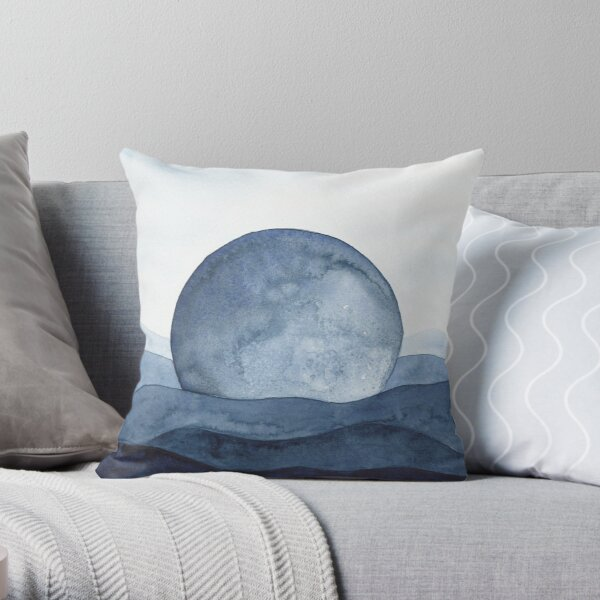 Moon Landscape   Watercolor Painting Throw Pillow