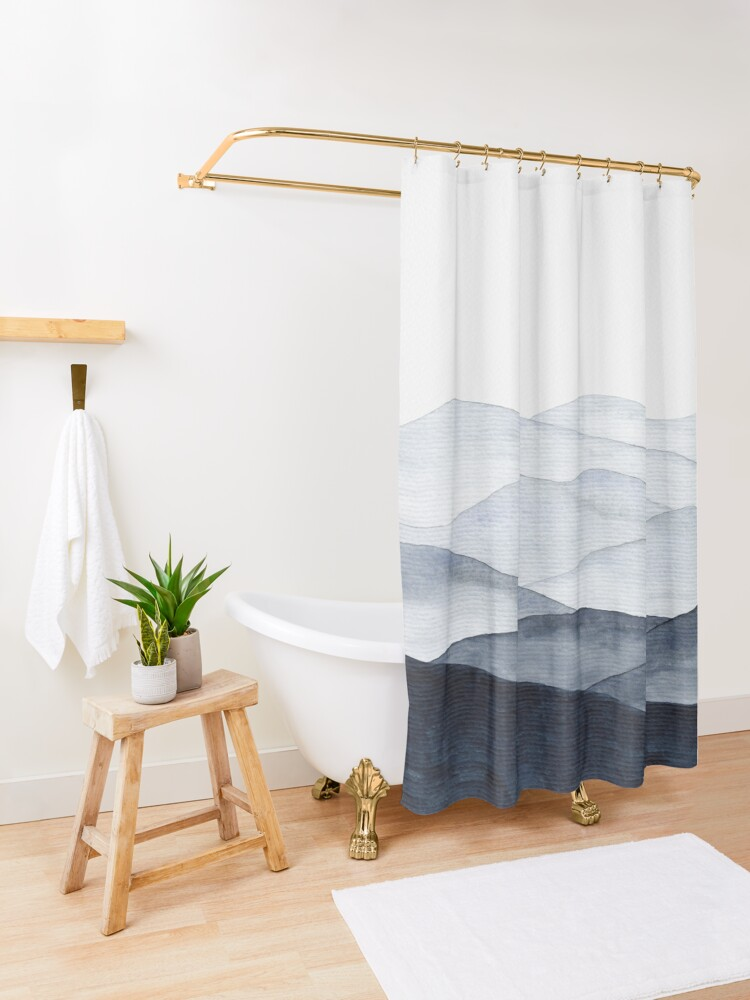 Alternate view of Abstract Indigo Mountains Shower Curtain
