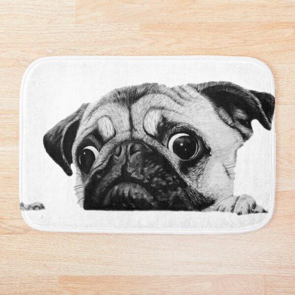 Cute Curious Pug Bath Mat