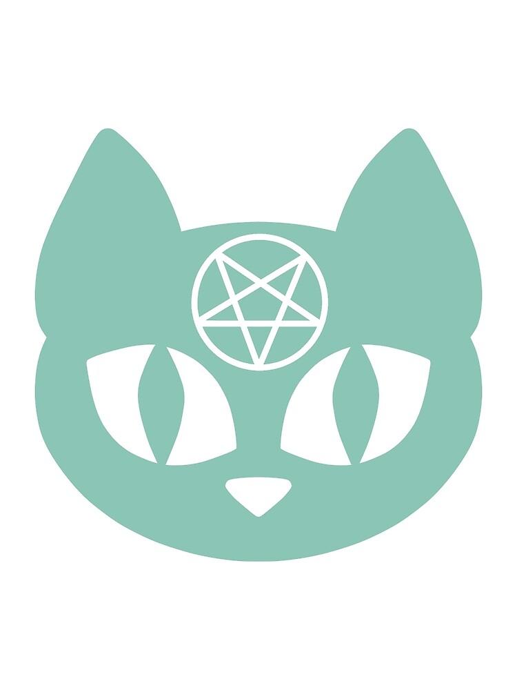 Pentagram Cat Teal by DeliriumLina