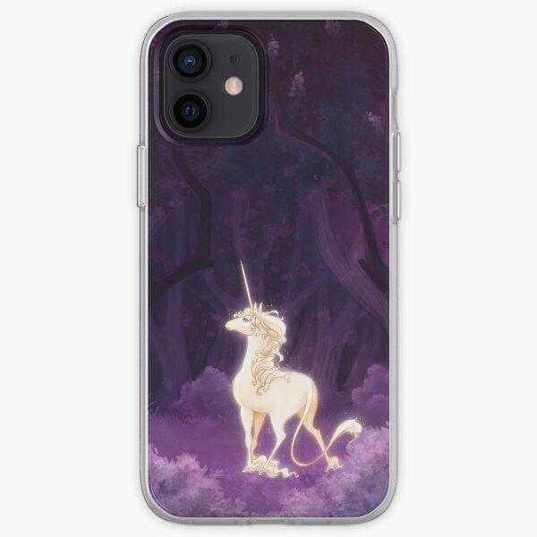 Licorne dans un bois lilas Coque souple iPhone