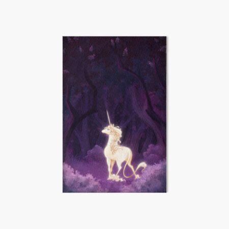 Unicorn in a Lilac Wood Art Board Print