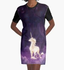 Unicorn in a Lilac Wood Graphic T-Shirt Dress