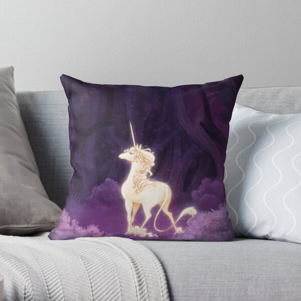 Unicorn in a Lilac Wood Throw Pillow