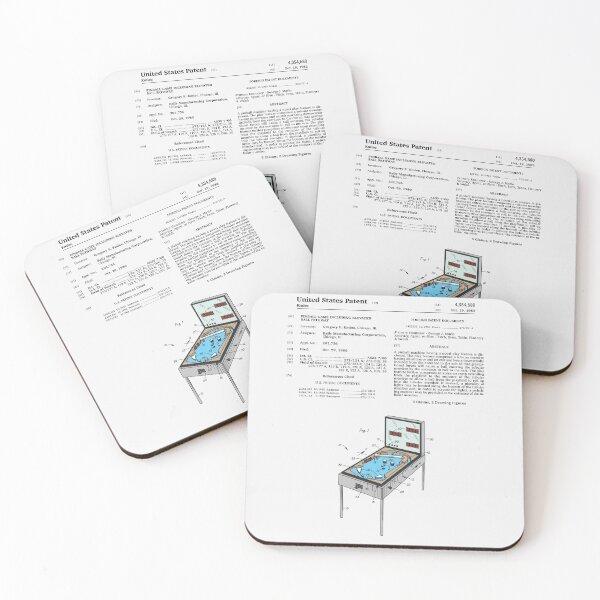 Pinball Machine Patent Coasters (Set of 4)