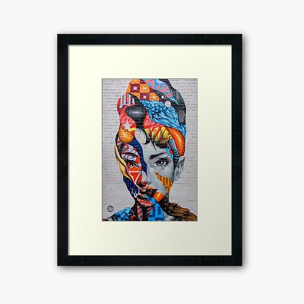 Audrey Hepburn Graffiti in Little Italy, NYC Framed Art Print