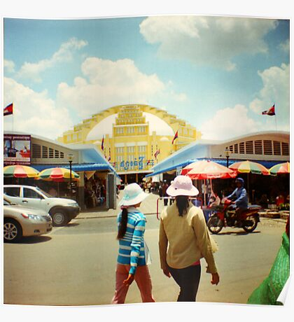 new market, phnom penh, cambodia Poster