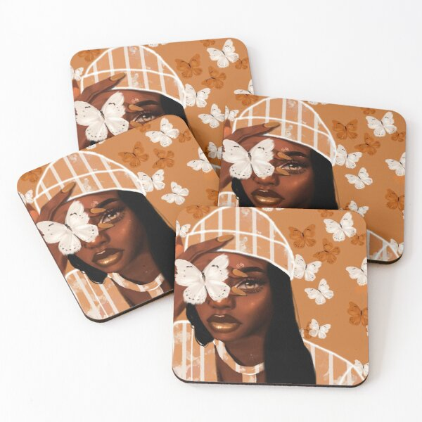 Faded, orange and white butterfly, portrait Coasters (Set of 4)