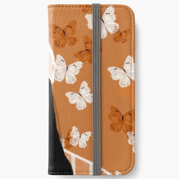 Faded, orange and white butterfly, portrait iPhone Wallet