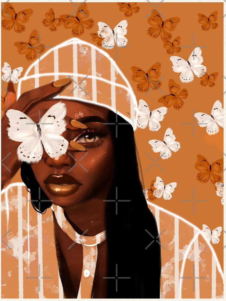 Faded, orange and white butterfly, portrait by euaadesigns