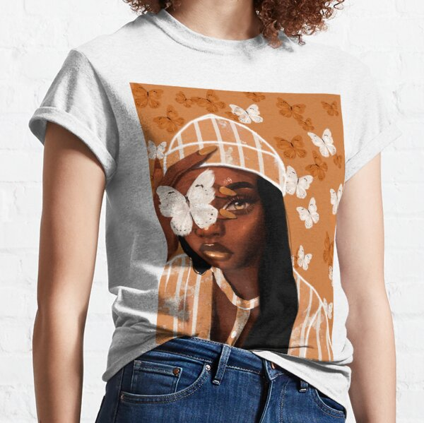 Faded, orange and white butterfly, portrait Classic T-Shirt