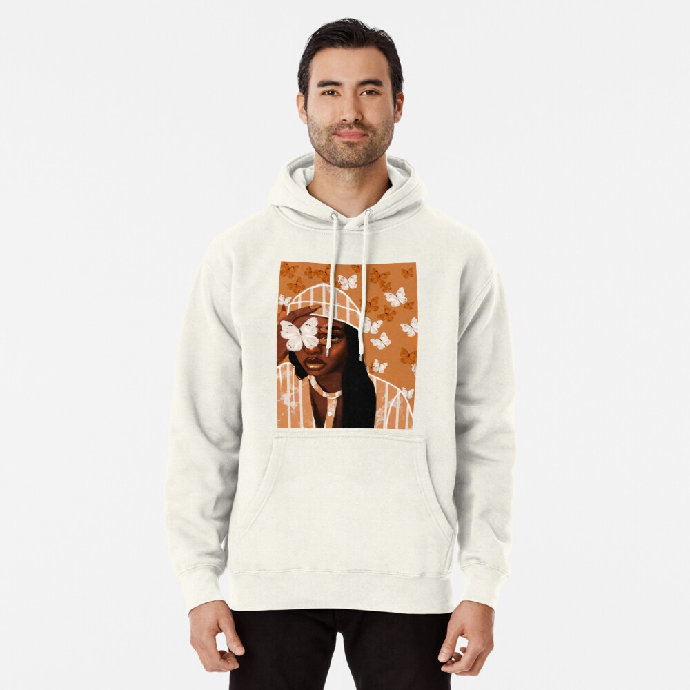 Faded, orange and white butterfly, portrait Pullover Hoodie