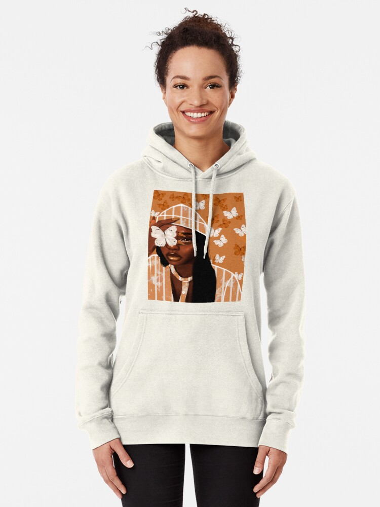 Alternate view of Faded, orange and white butterfly, portrait Pullover Hoodie