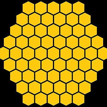 Honeycomb Swirl, Black & Gold by thomasb139
