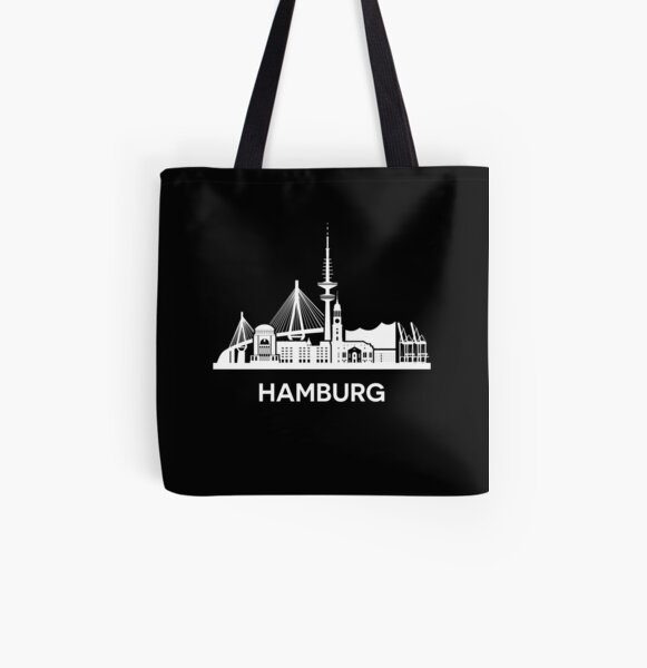 Hamburg City Skyline, extended version, white All Over Print Tote Bag