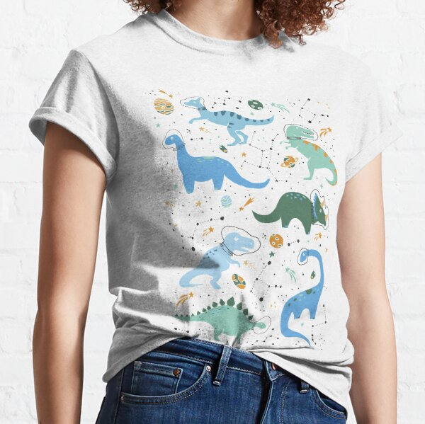 Space Dinosaurs in Blue Classic T-Shirt
