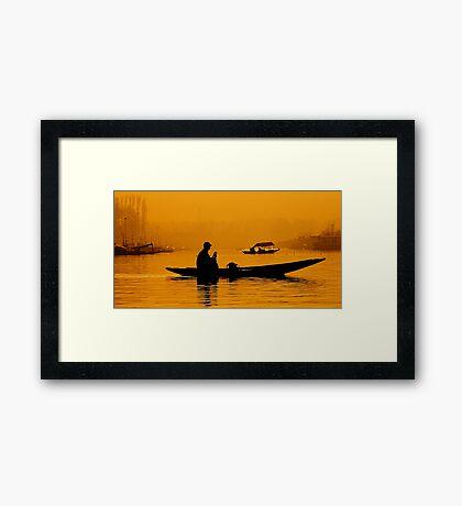 Golden Hour At Dal Lake Framed Print