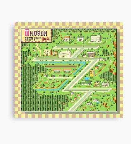 Twoson Town Map - Earthbound/Mother 2 Canvas Print