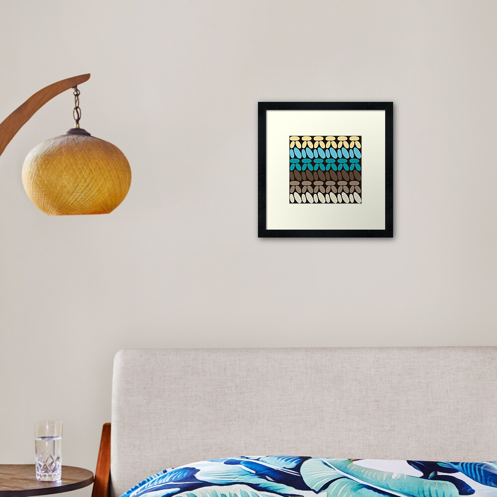 Pseudo crochet pattern with beach and ocean colors Framed Art Print