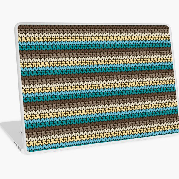 Pseudo crochet pattern with beach and ocean colors Laptop Skin