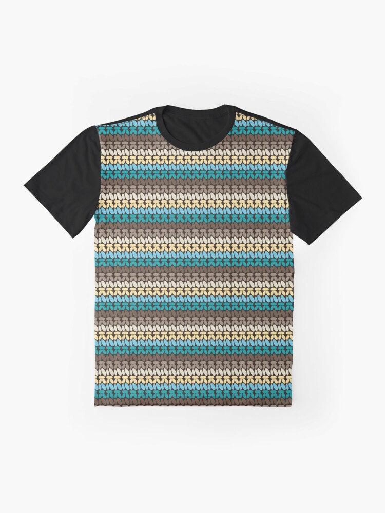Alternate view of Pseudo crochet pattern with beach and ocean colors Graphic T-Shirt